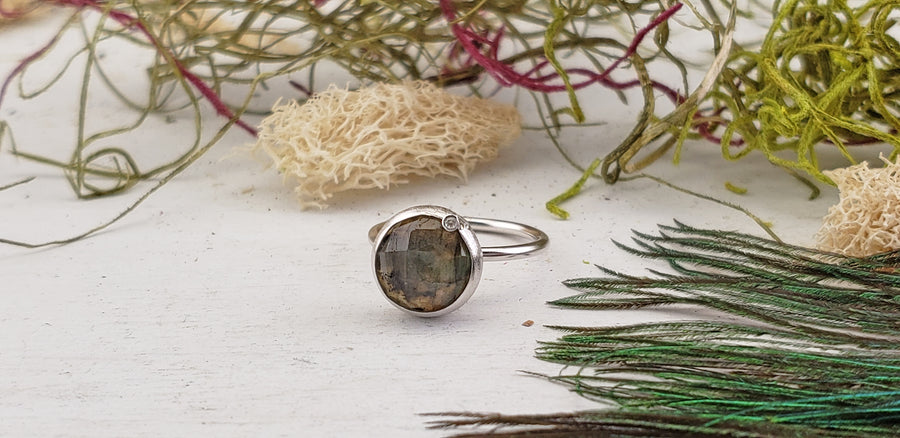 Labradorite Sterling Silver Ring with Diamond Accent