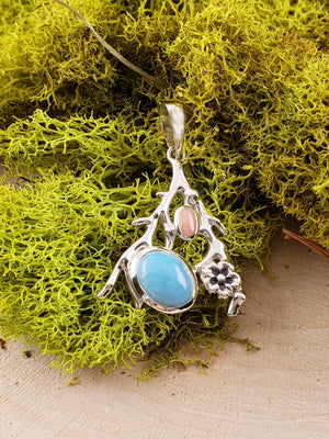 Larimar & Coral Gemstone Sterling Silver Tree Branch Pendant Jewelry
