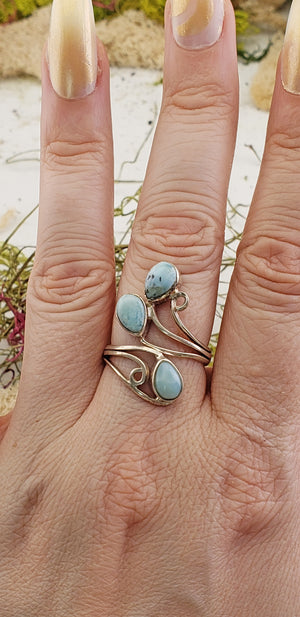 Larimar Gemstone Sterling Silver Ring