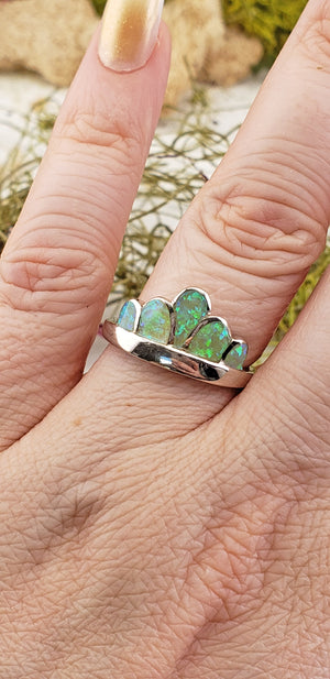 Opal Sterling Silver Crown Ring