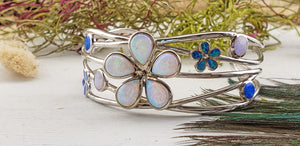 Blue & White Opal Floral Sterling Silver Cuff Bracelet