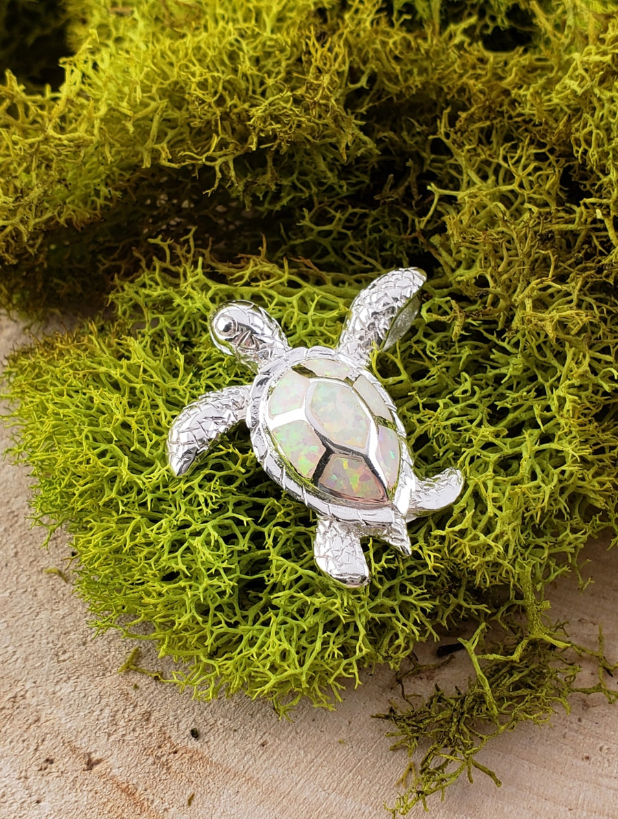 Opal Turtle Gemstone Sterling Silver Pendant Jewelry