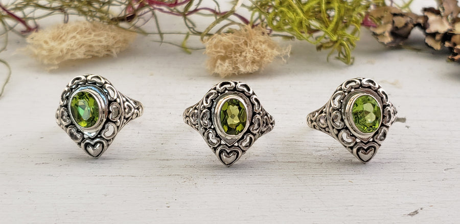 Peridot Gemstone Sterling Silver Ring