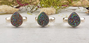 Rainbow Titanium Quartz Sterling Silver Ring