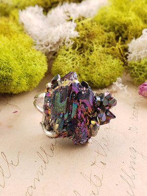 Rainbow Titanium & Sterling Silver Ring Gemstone Jewelry