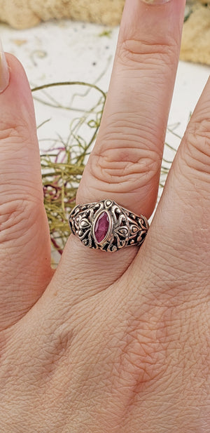 Ruby Gemstone Sterling Silver Ring
