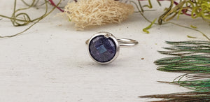 Sapphire Sterling Silver Ring with Diamond Accent