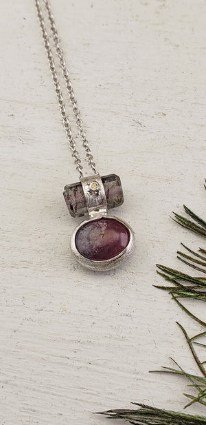 Watermelon Tourmaline Sterling Silver Necklace