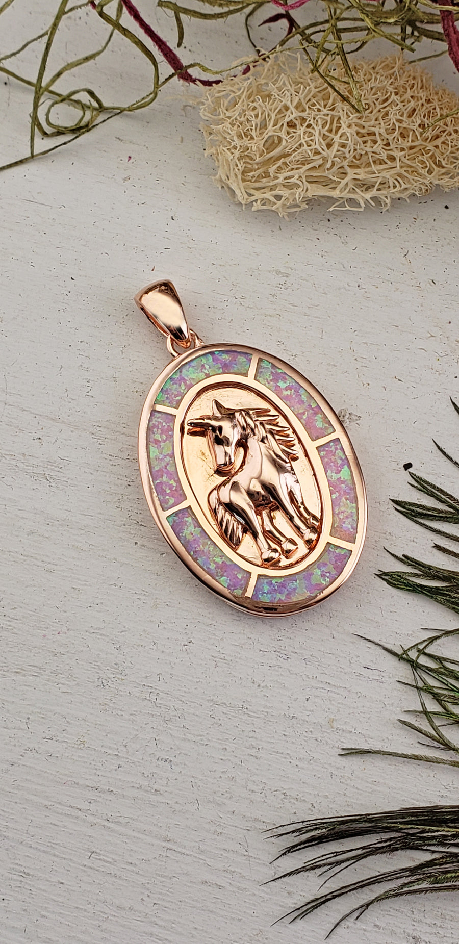 Opal Sterling Silver Rose Gold Unicorn Pendant