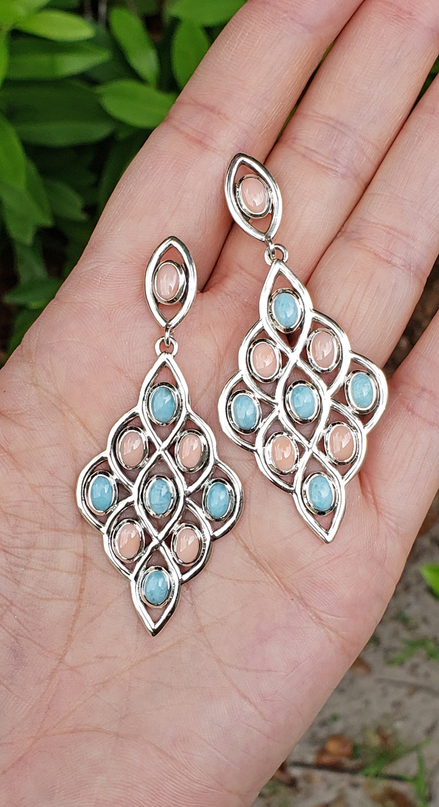 Larimar & Coral Sterling Silver Chandelier Earrings
