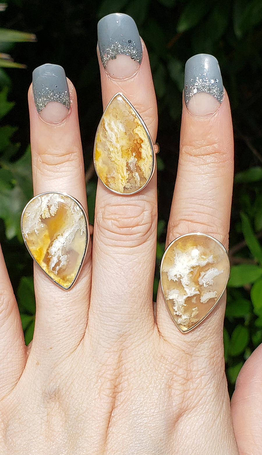 Plume Agate Gemstone & Sterling Silver Ring - Riley