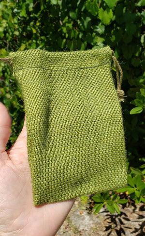 Burlap Green Stone Pouch
