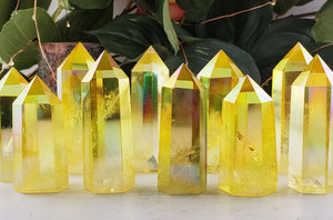 Sunshine Aura Quartz Tower Obelisk Stone Obelisks & Towers