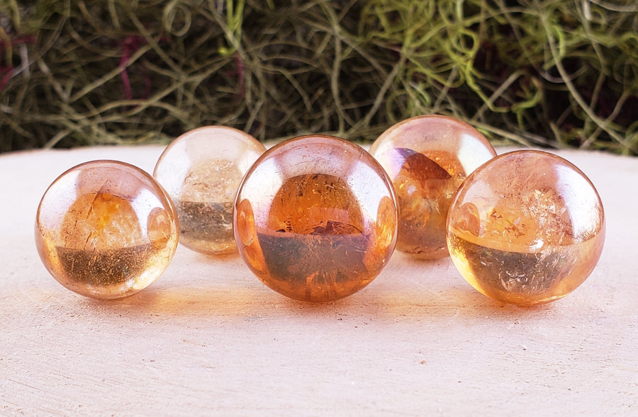 Tangerine Aura Quartz Gemstone Sphere Orb Tumbled Gemstones