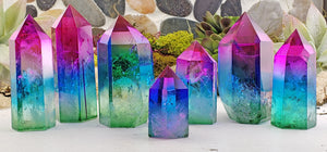 Tricolor Aura Rainbow Titanium Quartz Towers