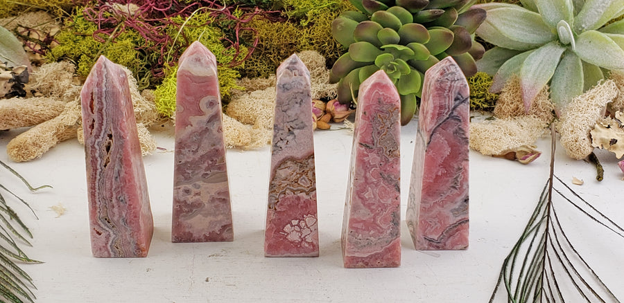 Rhodocrosite Hand-Cut Hand-Polished Gemstone Obelisk Tower Point A-Grade