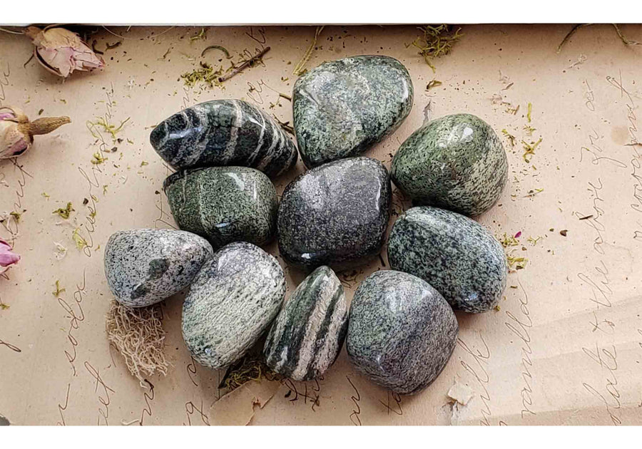 Green Zebra Jasper Gemstone Tumbled Polished Gemstones