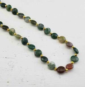 "Vintage Multi-Agate Gemstone Coin Bead 18"" Necklace"