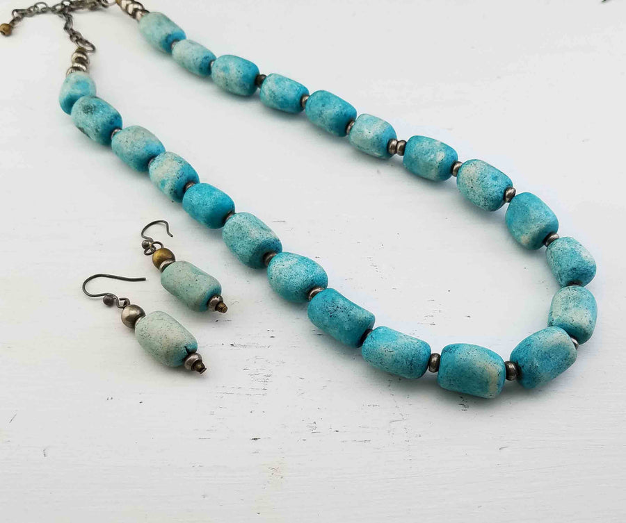 Vintage Blue Howlite Beaded Gemstone Necklace and Earrings