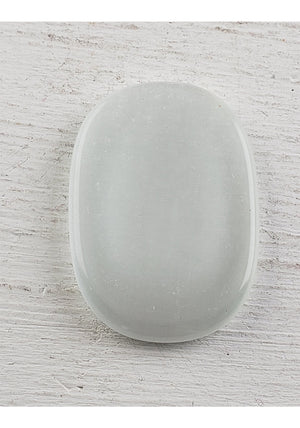 Cat's Eye Worry Meditation Stone - With Thumbprint Indentation