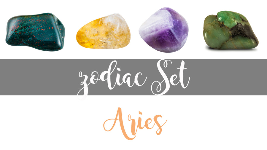 Zodiac Aries Gemstone Pocket Stone Set