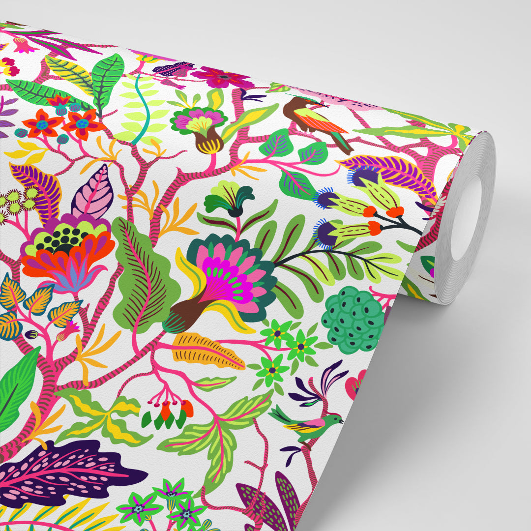 Partially unrolled wallpaper with bright, vivid flowers and plants