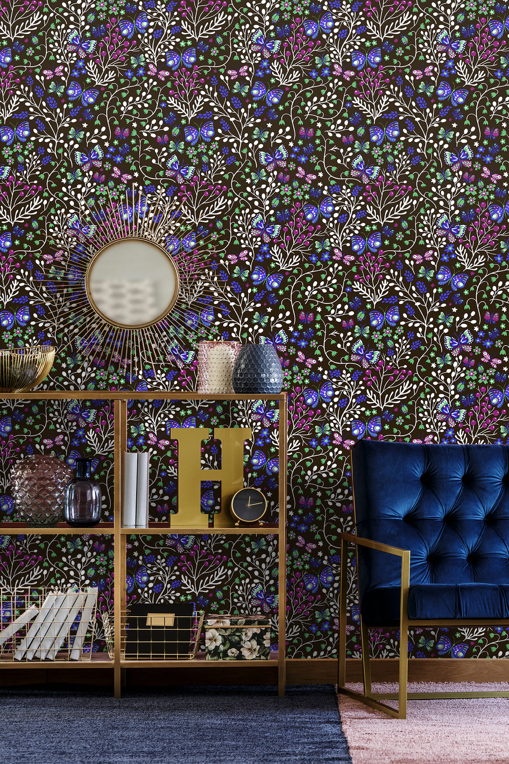Small patterned flowers and plants with butterflies removable wallpaper behind contemporary blue lounge chair and gold shelves