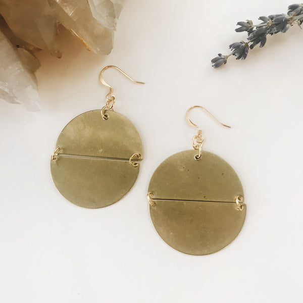 Jumbo Brass Circle Earrings