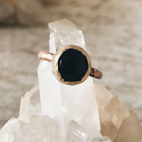 Black Agate Stacking Ring, size 7.75