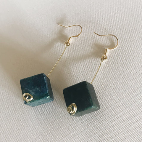 Serpentine Cube Earrings