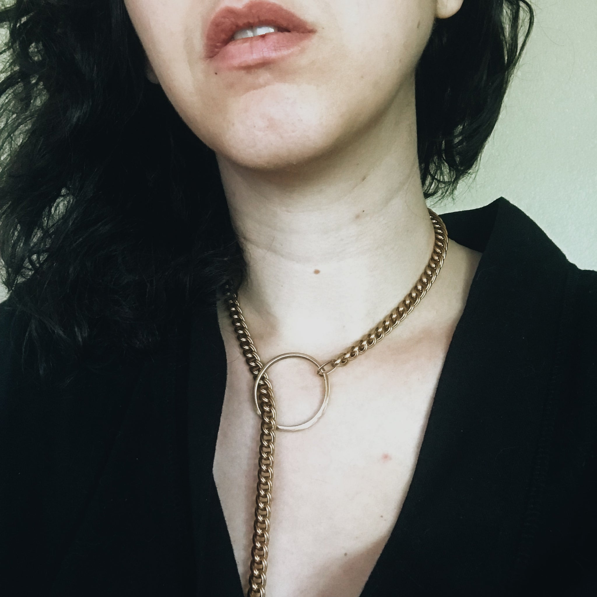 Brass Chain and Hoop Necklace
