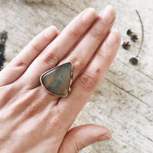 Green Fluorite Triangle Ring, size 7
