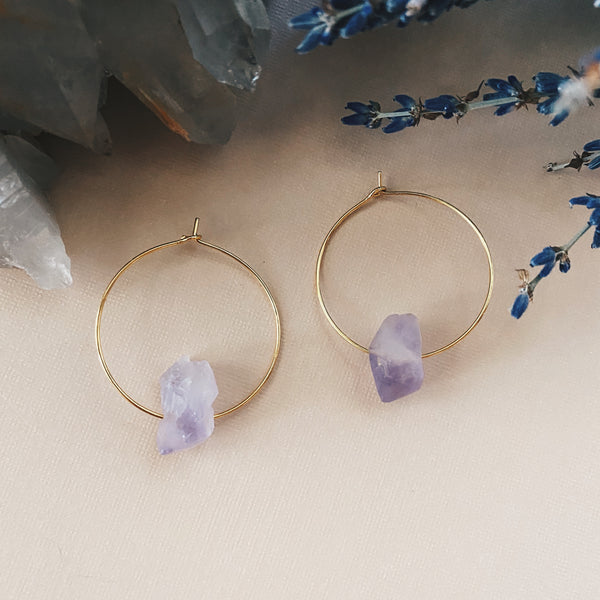 Amethyst Gold Hoops