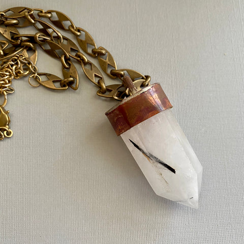Rutilated Quartz Brass Tower Necklace