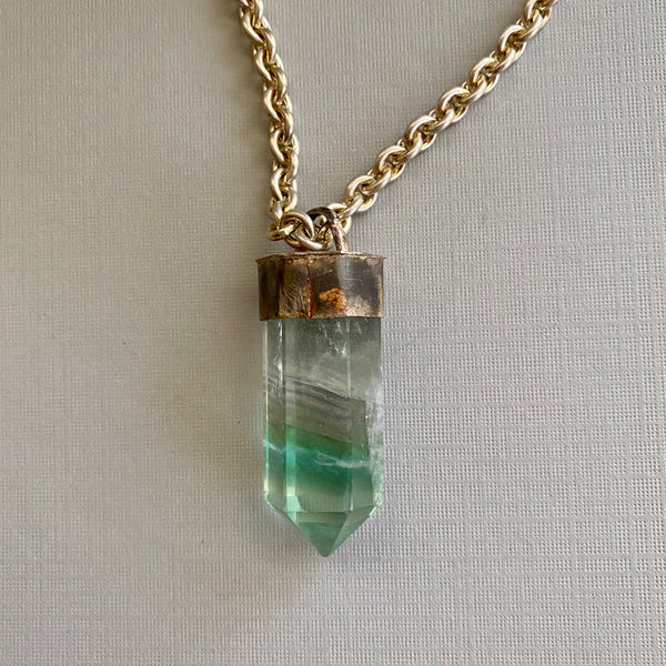 Green Fluorite Silver Tower Necklace