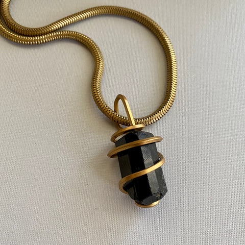 Black Tourmaline Wrapped Necklace