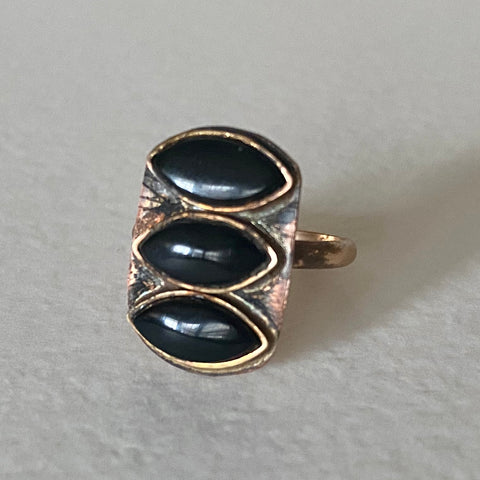 Triple Black Onyx Eye Ring, size 6.5
