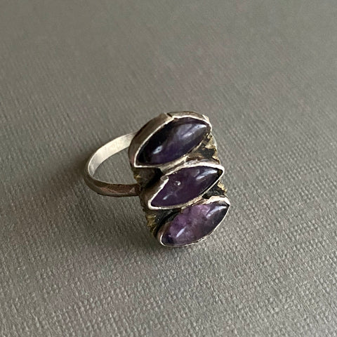 Triple Amethyst Eye Ring, size 6.5