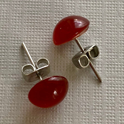 Vintage Carnelian Glass Stud Earrings