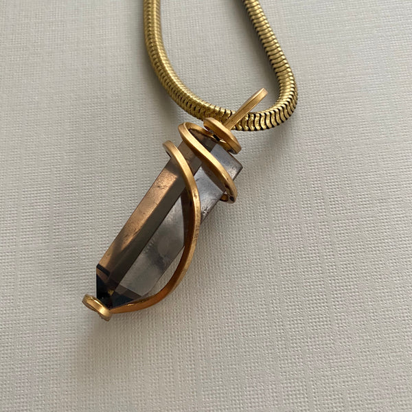 Smoky Quartz Wrapped Necklace