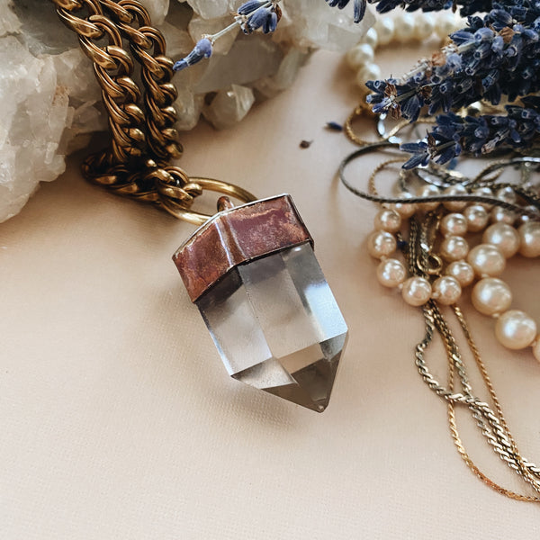 Smoky Quartz Mixed Metal Necklace