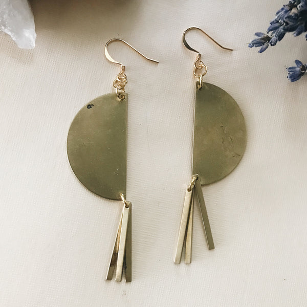 Vertical Half Moon Earrings