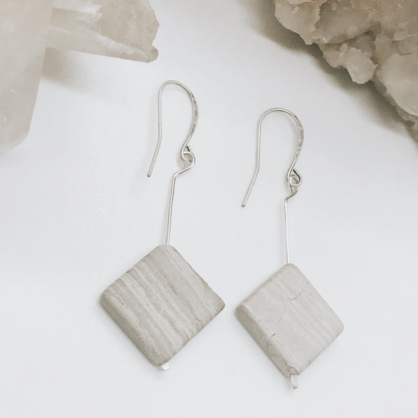 Gray Marble Earrings