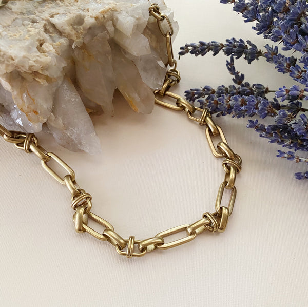 Fancy Brass Chain Necklace
