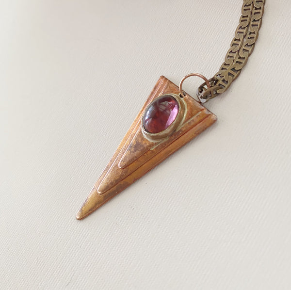 Violet Glass Triangle Necklace