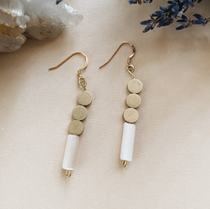 Triple Circle White Cat's Eye Earrings