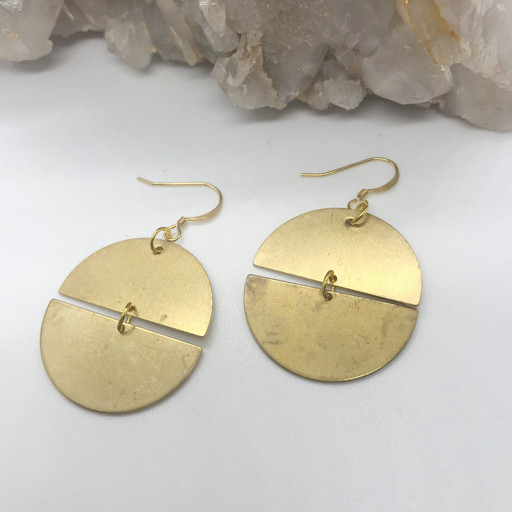 Gold & Brass Circle Earrings