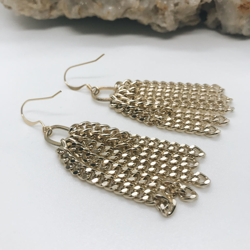 Short Gold Chain Earrings