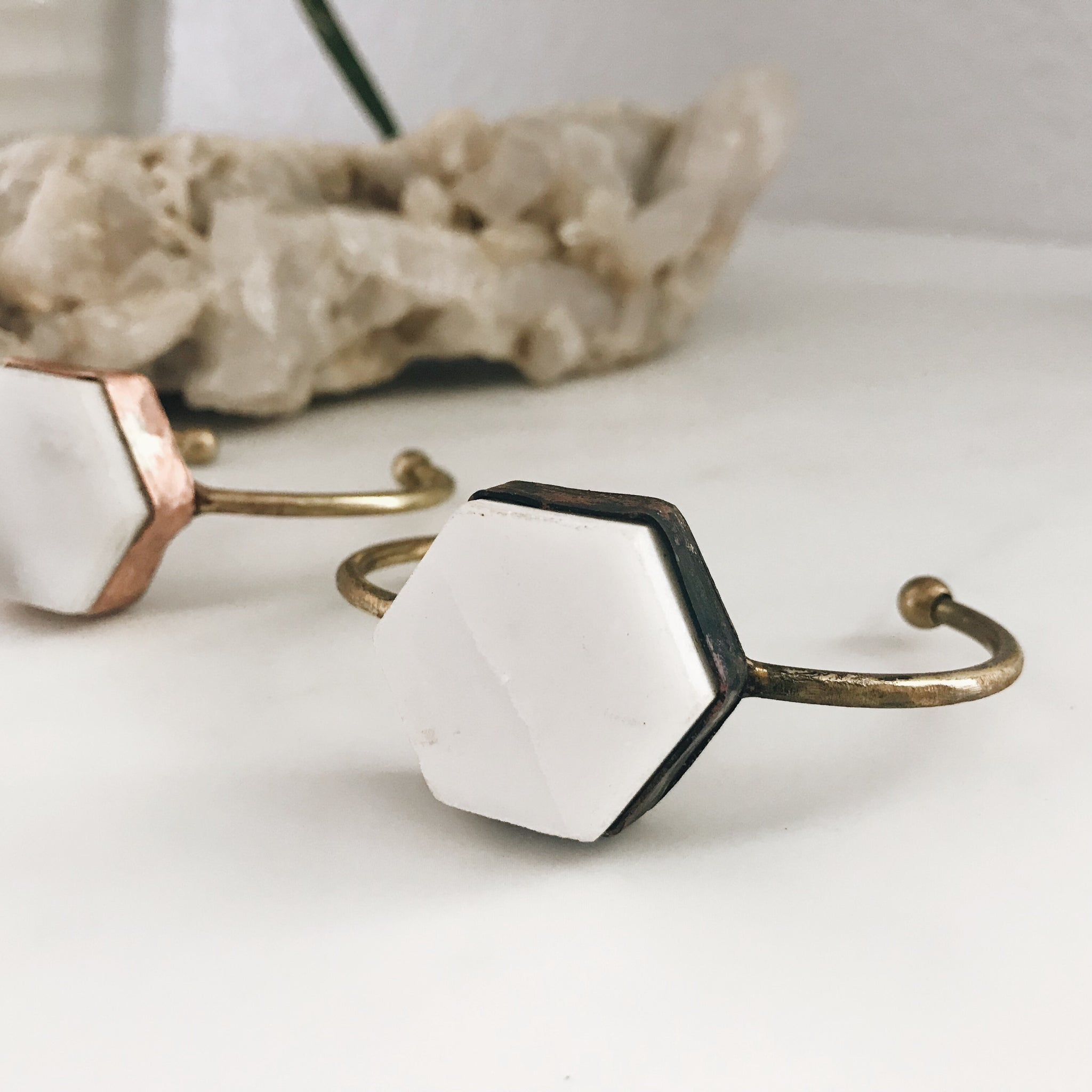 Marble Hexagon Cuff, Copper and Brass