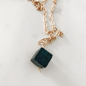 Gold Serpentine Cube Necklace